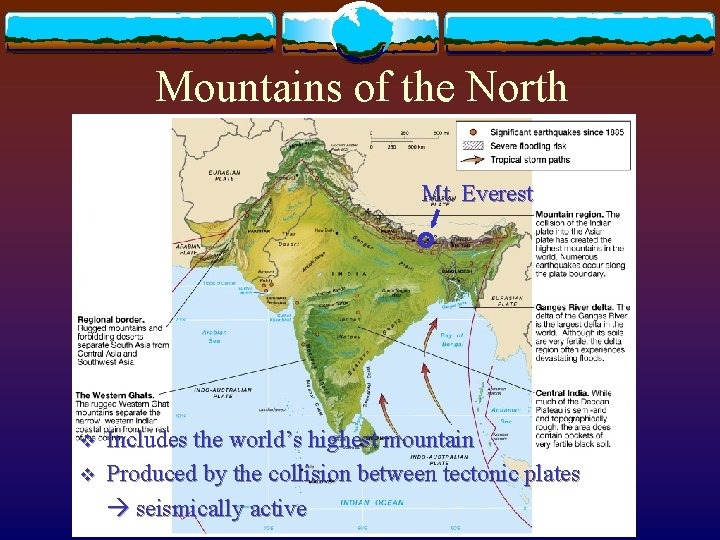 Mountains of the North Mt. Everest v v Includes the world's highest mountain Produced