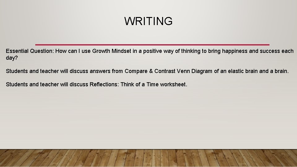WRITING Essential Question: How can I use Growth Mindset in a positive way of