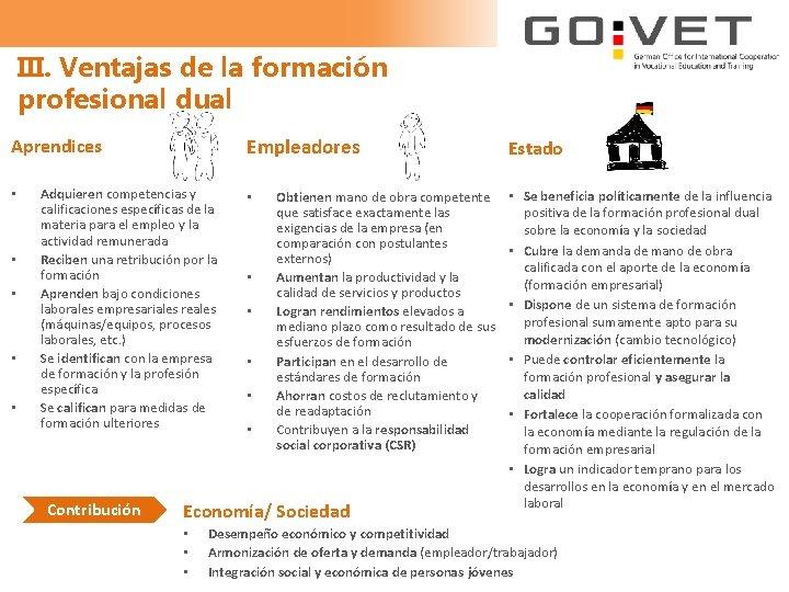 III. Ventajas de la formación profesional dual Empleadores Aprendices • • • Adquieren competencias