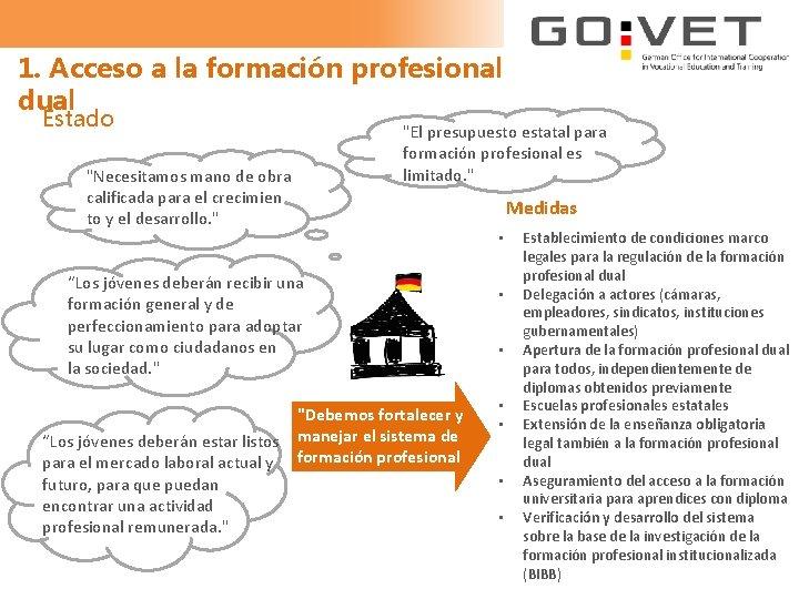 """1. Acceso a la formación profesional dual Estado """"El presupuesto estatal para formación profesional"""