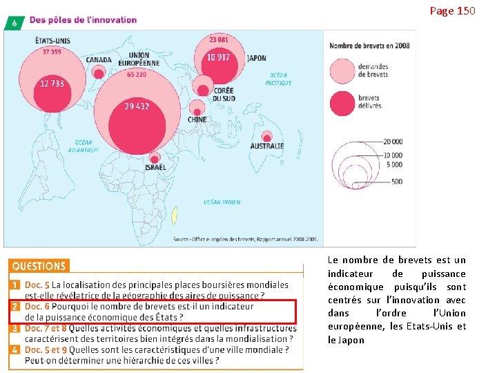 Page 150 Le nombre de brevets est un indicateur de puissance économique puisqu'ils sont