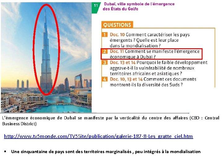 L'émergence économique de Dubaï se manifeste par la verticalité du centre des affaires (CBD