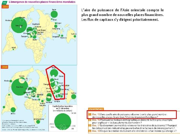 L'aire de puissance de l'Asie orientale compte le plus grand nombre de nouvelles places