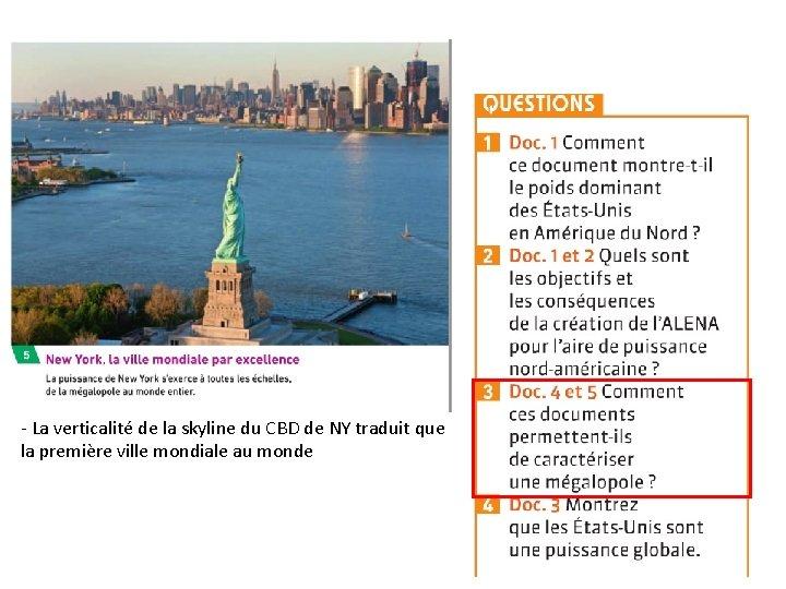 - La verticalité de la skyline du CBD de NY traduit que la première