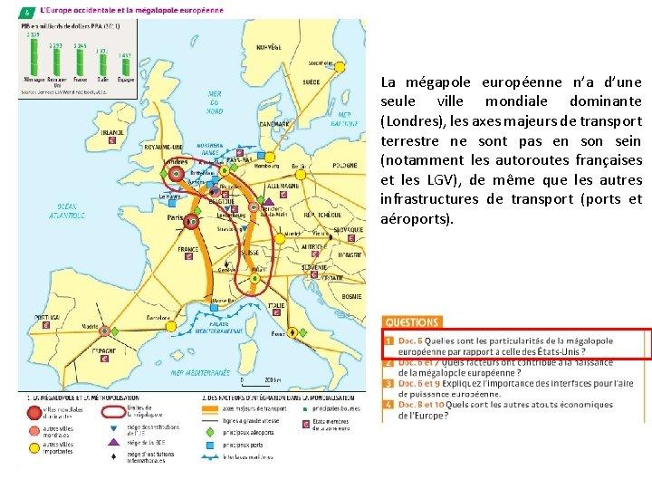 La mégapole européenne n'a d'une seule ville mondiale dominante (Londres), les axes majeurs de