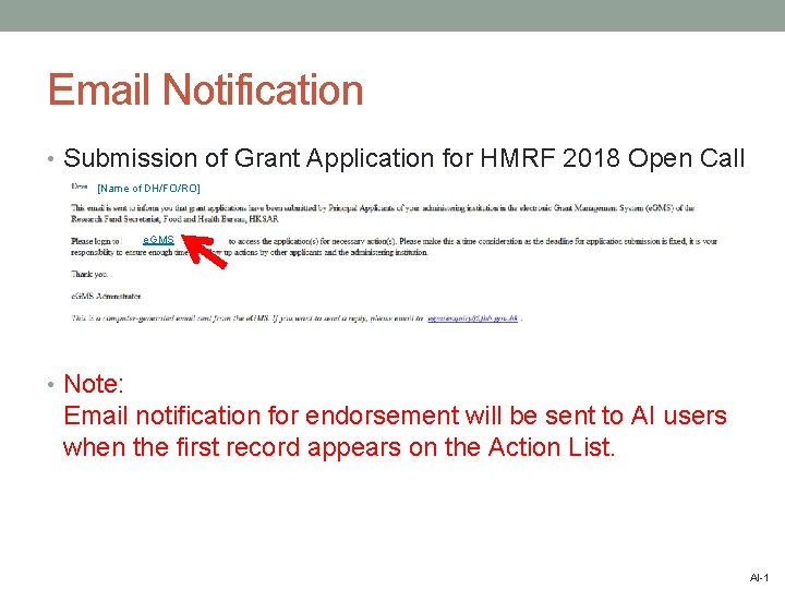Email Notification • Submission of Grant Application for HMRF 2018 Open Call [Name of