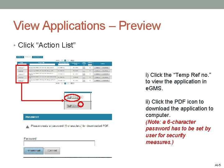 """View Applications – Preview • Click """"Action List"""" i) Click the """"Temp Ref no."""