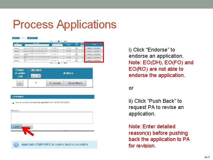 """Process Applications i) Click """"Endorse"""" to endorse an application. Note: EO(DH), EO(FO) and EO(RO)"""