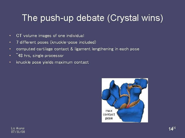 The push-up debate (Crystal wins) • • • CT volume images of one individual