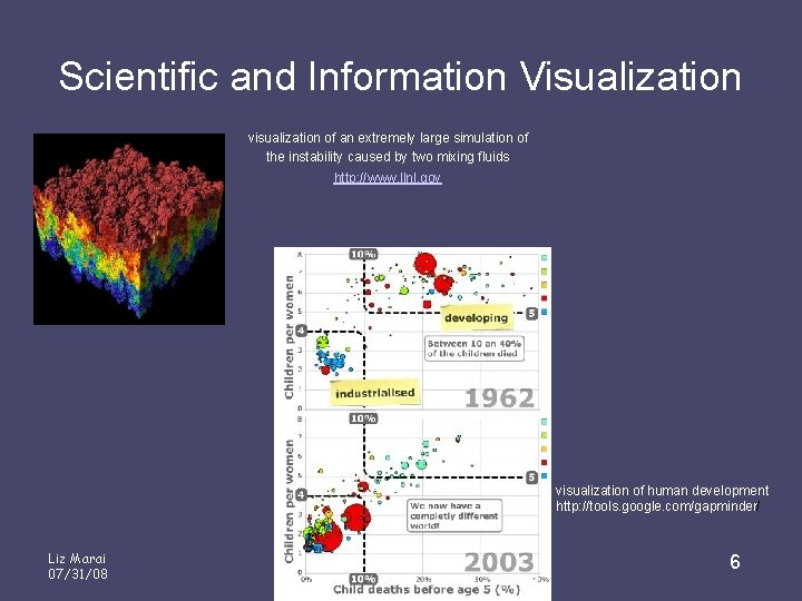 Scientific and Information Visualization visualization of an extremely large simulation of the instability caused