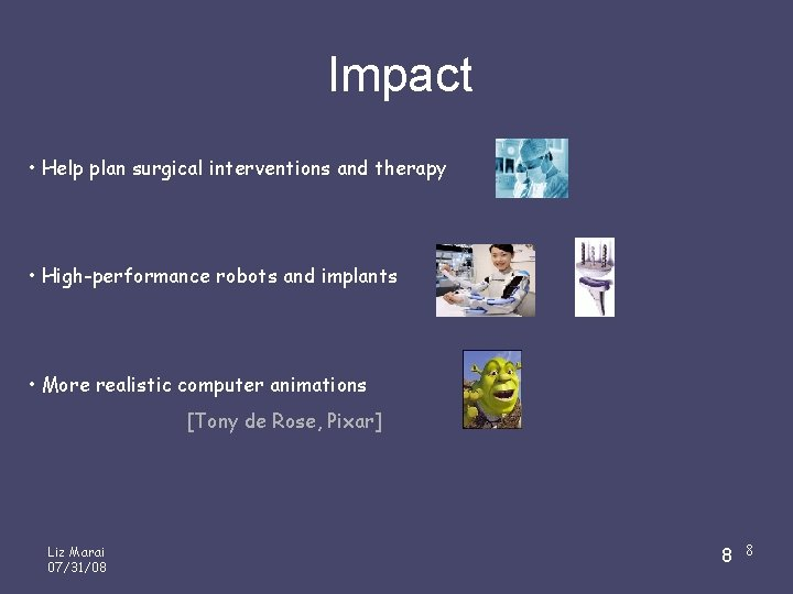 Impact • Help plan surgical interventions and therapy • High-performance robots and implants •