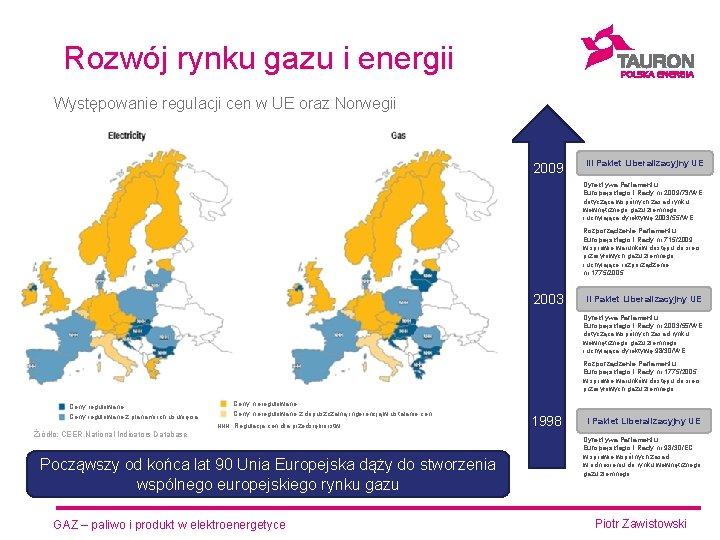 Rozwój rynku gazu i energii Występowanie regulacji cen w UE oraz Norwegii 2009 III