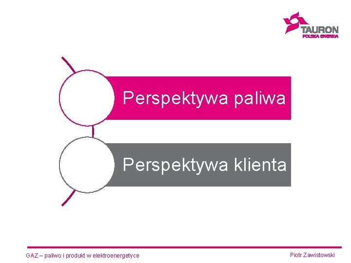 Perspektywa paliwa Perspektywa klienta GAZ – paliwo i produkt w elektroenergetyce Piotr Zawistowski