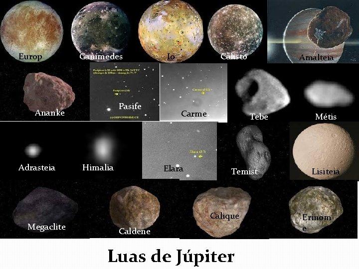 Europ a Ganímedes Pasife Ananke Adrasteia Megaclite Himalia Io Calisto Carme Elara Amalteia Tebe