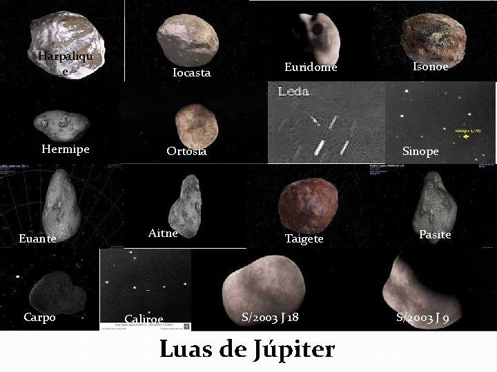 Harpaliqu e Iocasta Hermipe Euante Carpo Euridome Ortósia Aitne Caliroe Isonoe Sinope Taigete S/2003