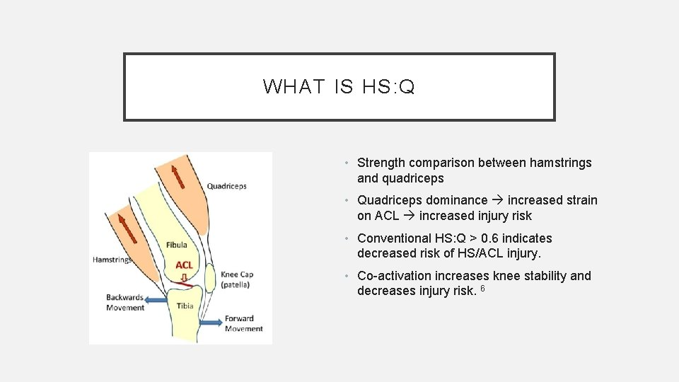 WHAT IS HS: Q • Strength comparison between hamstrings and quadriceps • Quadriceps dominance
