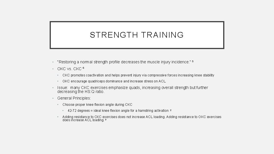 """STRENGTH TRAINING • """"Restoring a normal strength profile decreases the muscle injury incidence. """""""