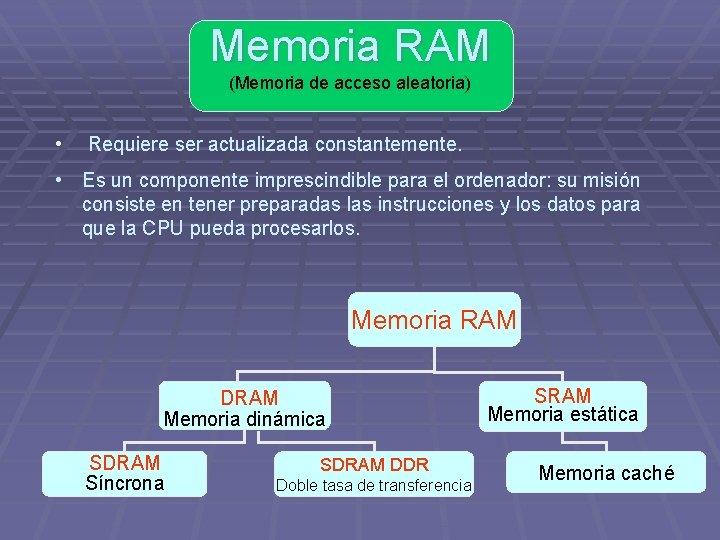 Memoria RAM (Memoria de acceso aleatoria) • Requiere ser actualizada constantemente. • Es un