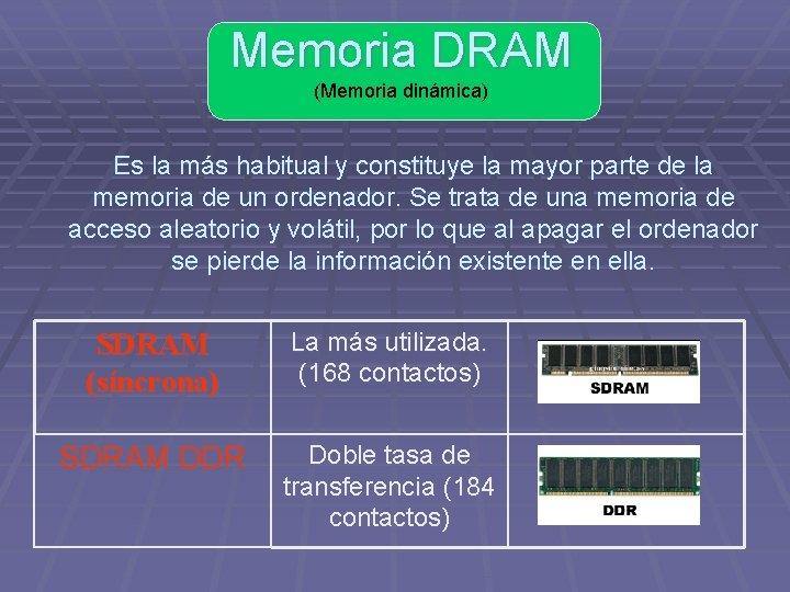 Memoria DRAM (Memoria dinámica) Es la más habitual y constituye la mayor parte de