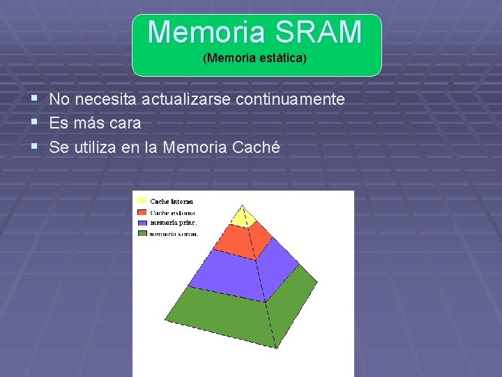 Memoria SRAM (Memoria estática) § No necesita actualizarse continuamente § Es más cara §
