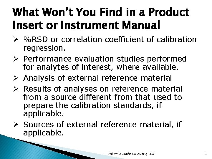 What Won't You Find in a Product Insert or Instrument Manual Ø %RSD or