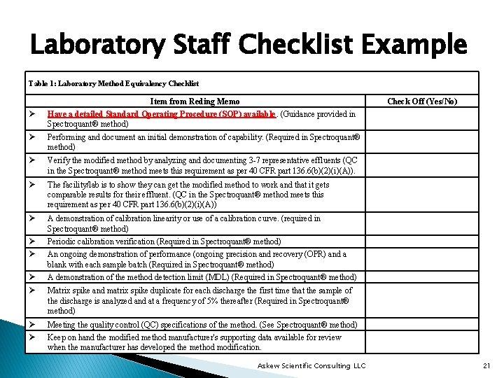 Laboratory Staff Checklist Example Table 1: Laboratory Method Equivalency Checklist Ø Item from Reding
