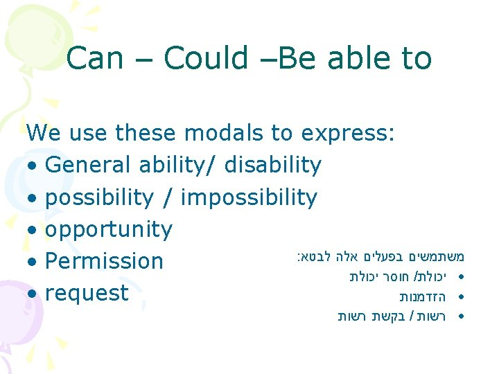 Can – Could –Be able to We use these modals to express: • General