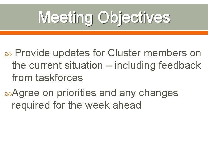 Meeting Objectives Provide updates for Cluster members on the current situation – including feedback