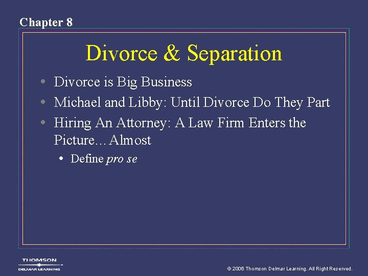Chapter 8 Divorce & Separation • Divorce is Big Business • Michael and Libby:
