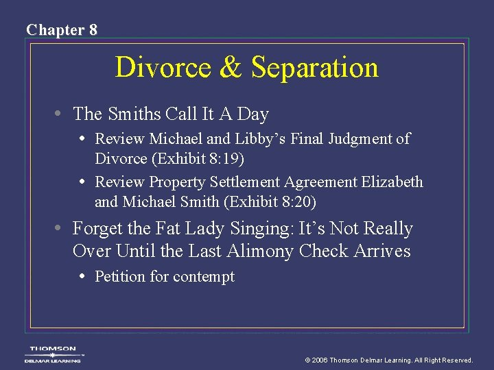 Chapter 8 Divorce & Separation • The Smiths Call It A Day • Review
