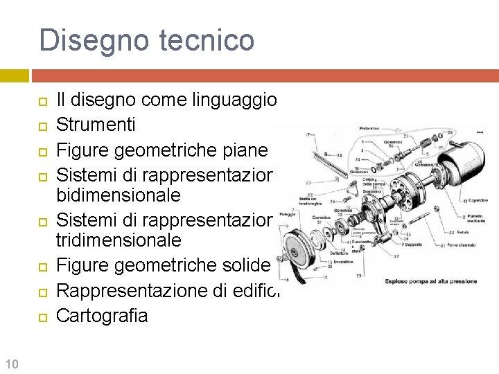 Disegno tecnico 10 Il disegno come linguaggio Strumenti Figure geometriche piane Sistemi di rappresentazione