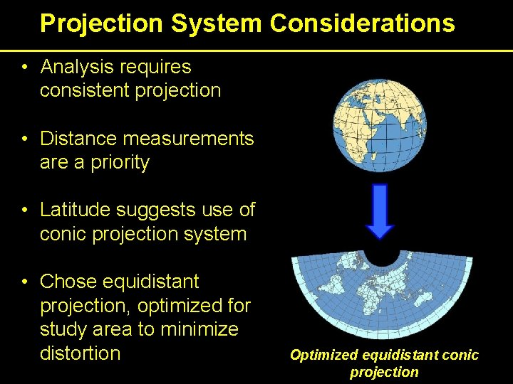 Projection System Considerations • Analysis requires consistent projection • Distance measurements are a priority
