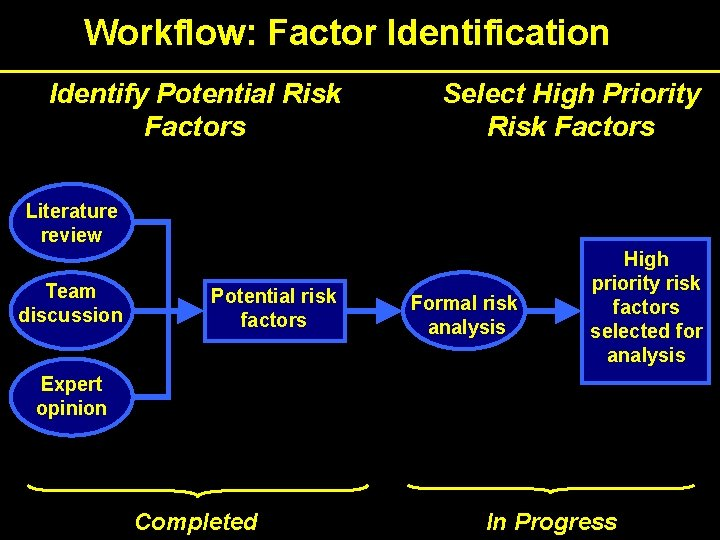 Workflow: Factor Identification Identify Potential Risk Factors Select High Priority Risk Factors Literature review