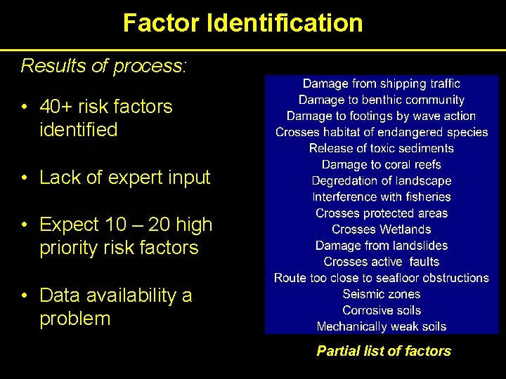 Factor Identification Results of process: • 40+ risk factors identified • Lack of expert