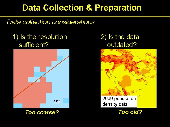 Data Collection & Preparation Data collection considerations: 1) Is the resolution sufficient? 1 km