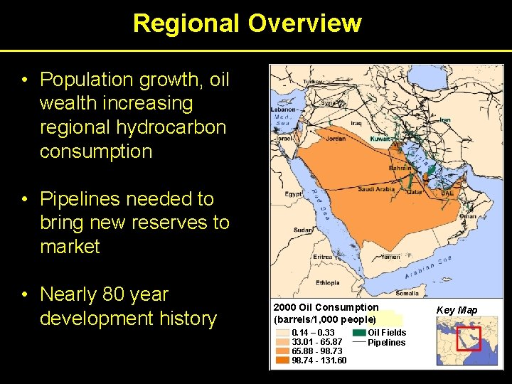 Regional Overview • Population growth, oil wealth increasing regional hydrocarbon consumption • Pipelines needed