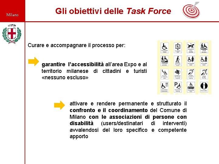 Milano Gli obiettivi delle Task Force Curare e accompagnare il processo per: garantire l'accessibilità