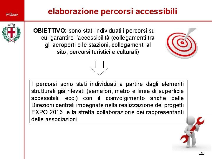 Milano elaborazione percorsi accessibili OBIETTIVO: sono stati individuati i percorsi su cui garantire l'accessibilità