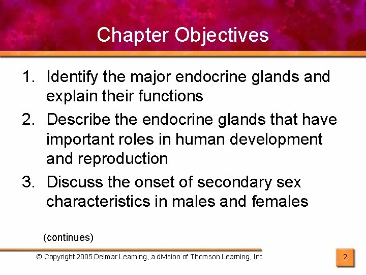 Chapter Objectives 1. Identify the major endocrine glands and explain their functions 2. Describe