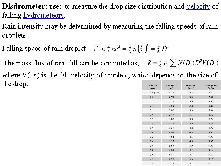 Disdrometer: used to measure the drop size distribution and velocity of falling hydrometeors. Rain