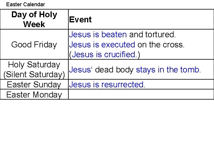 Easter Calendar Day of Holy Week Event Good Friday Jesus is beaten and tortured.