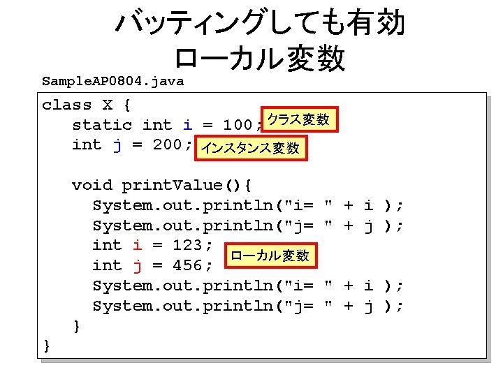 バッティングしても有効 ローカル変数 Sample. AP 0804. java class X { static int i = 100;