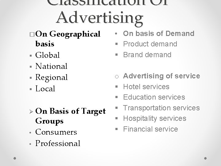 Classification Of Advertising � On § § Geographical basis Global National Regional Local Ø