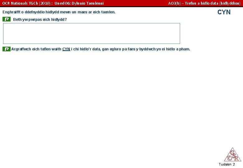 OCR Nationals TGCh (2010) : Uned 06: Dylunio Taenlenni AO 3(b) – Trefnu a