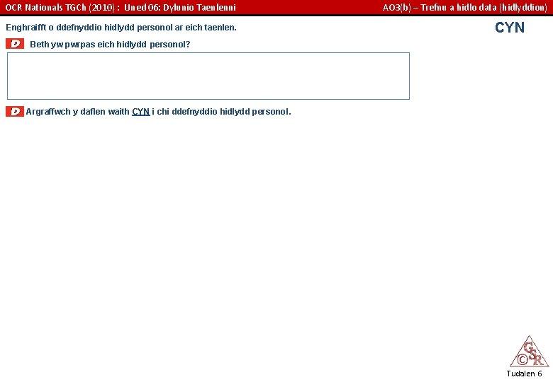 OCR Nationals TGCh (2010) : Uned 06: Dylunio Taenlenni Enghraifft o ddefnyddio hidlydd personol