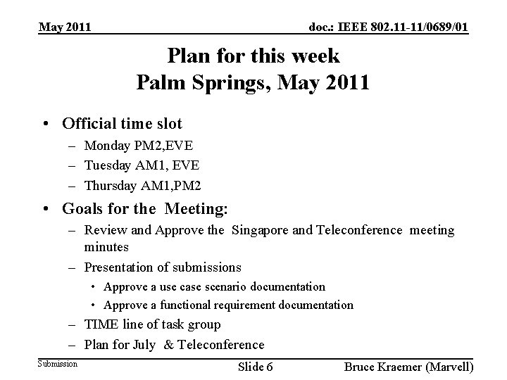 doc. : IEEE 802. 11 -11/0689/01 May 2011 Plan for this week Palm Springs,