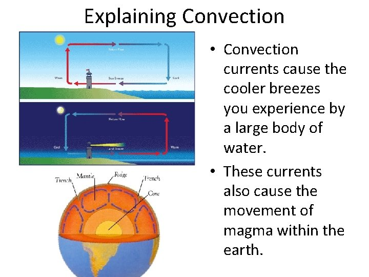Explaining Convection • Convection currents cause the cooler breezes you experience by a large