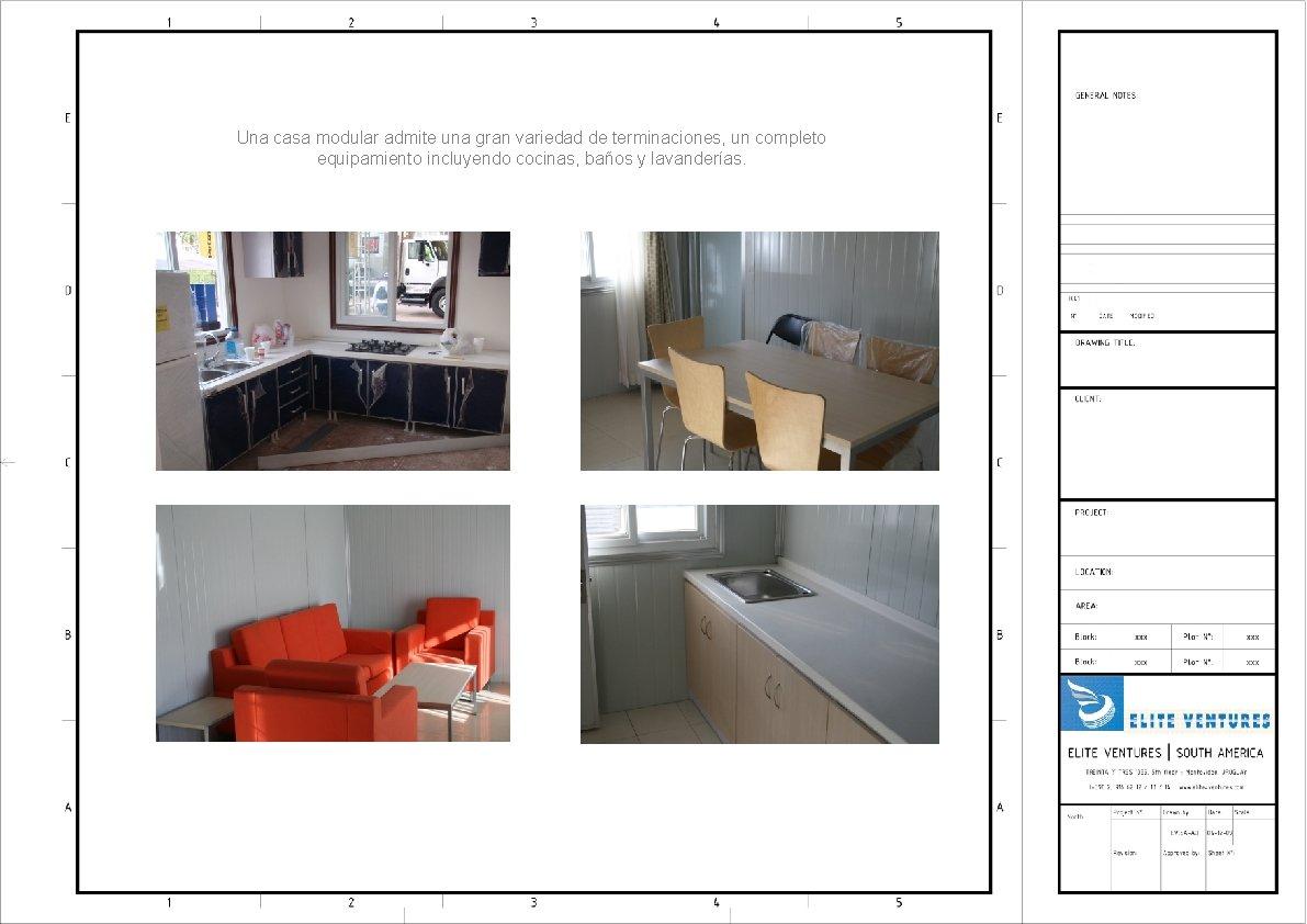 Una casa modular admite una gran variedad de terminaciones, un completo equipamiento incluyendo cocinas,