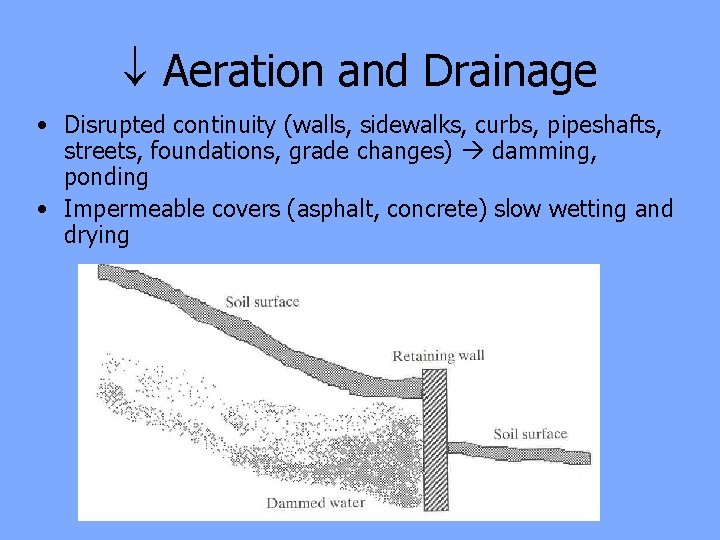 Aeration and Drainage • Disrupted continuity (walls, sidewalks, curbs, pipeshafts, streets, foundations, grade