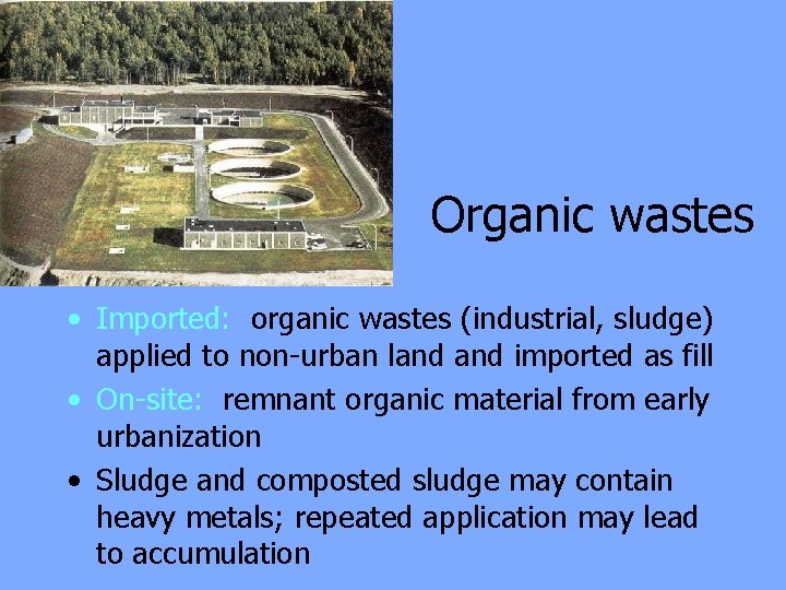 Organic wastes • Imported: organic wastes (industrial, sludge) applied to non-urban land imported as